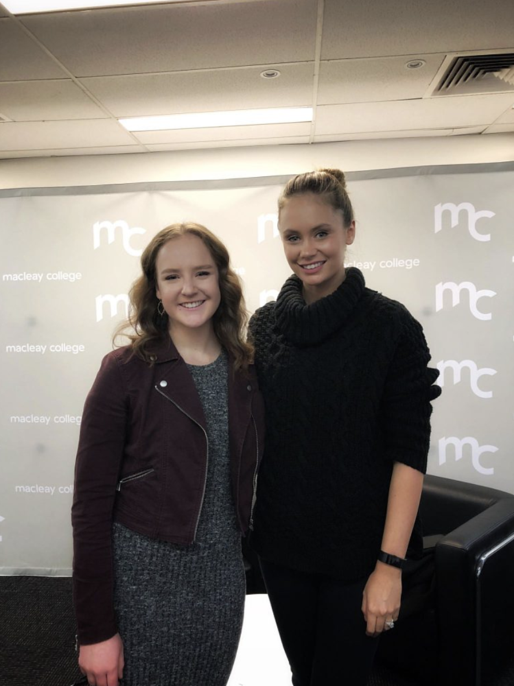 Macleay-College-student-with-Macleay-Graduate-Amber-Laidler-Seven-News-reporter